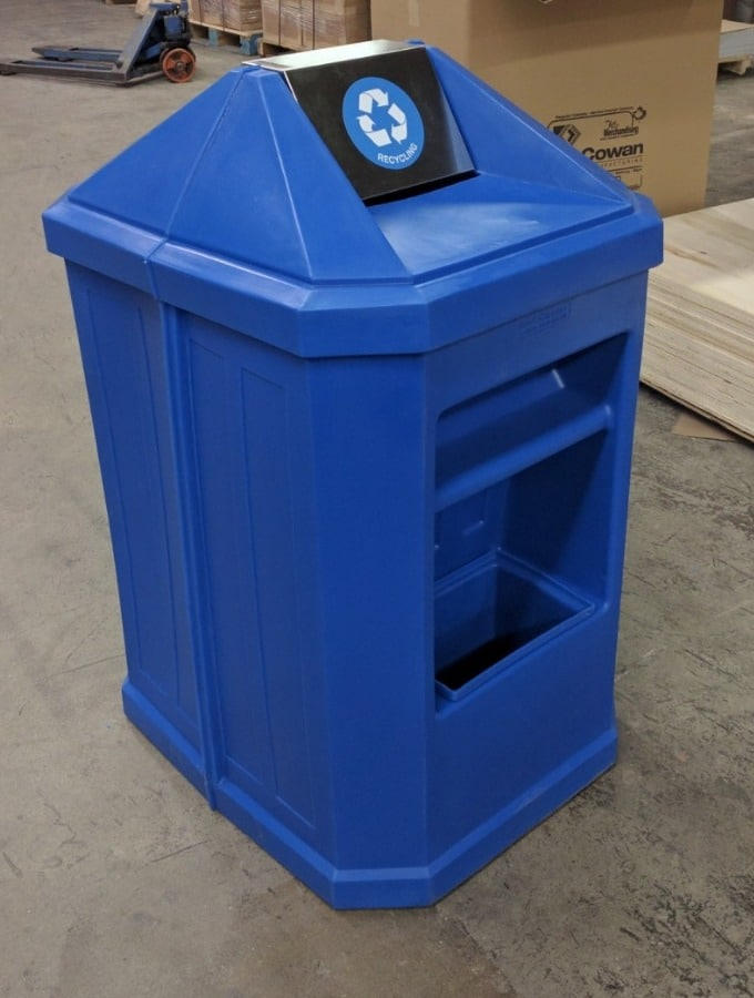 14. MU-707 Combo Waste & Windshield Service Unit in Recycle Blue - 45H x 26W x 31D