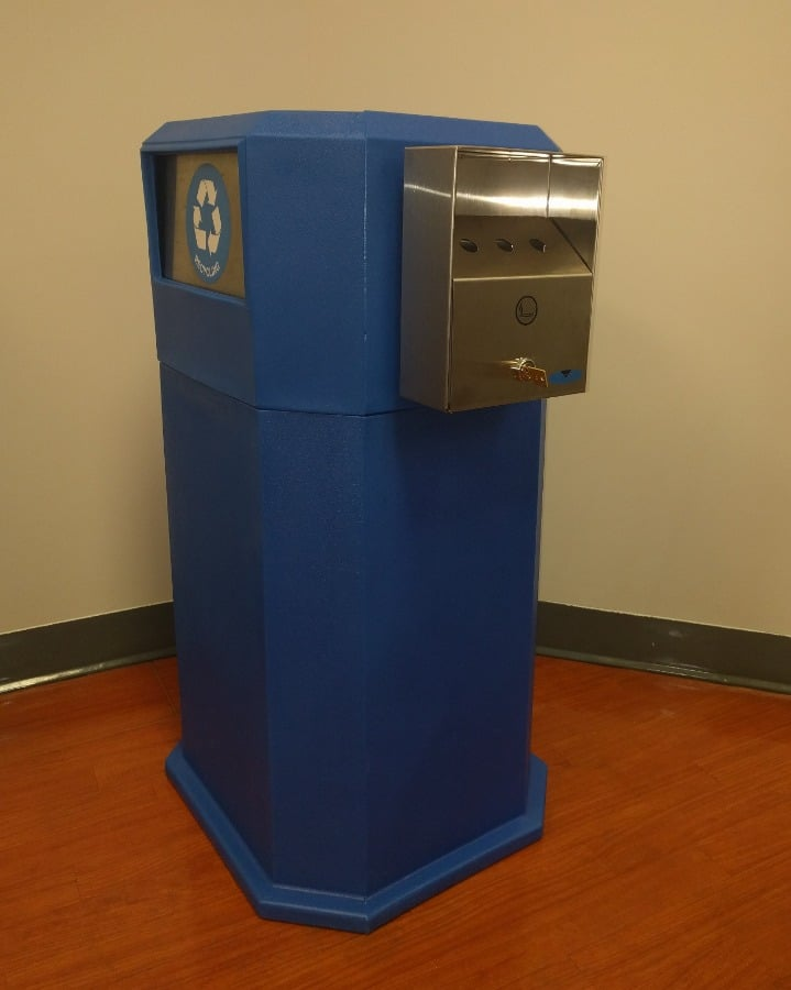 18. MU-702-AD Trash Can with Swing Doors & Side Mounted Ash Tray in Recycle Blue