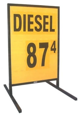 1c. MS-211D Curb-Side Fuel Pricing Sign in Yellow - 58H x 39.25W x 40D