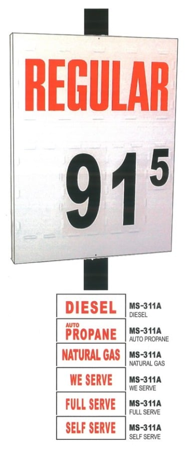 5a. MS-311 Pole Mount Fuel Pricing Sign - 48H x 36W x 4.75D