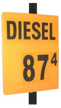 5b. MS-311 Pole Mount Fuel Pricing Sign in Yellow - 48H x 36W x 4.75D
