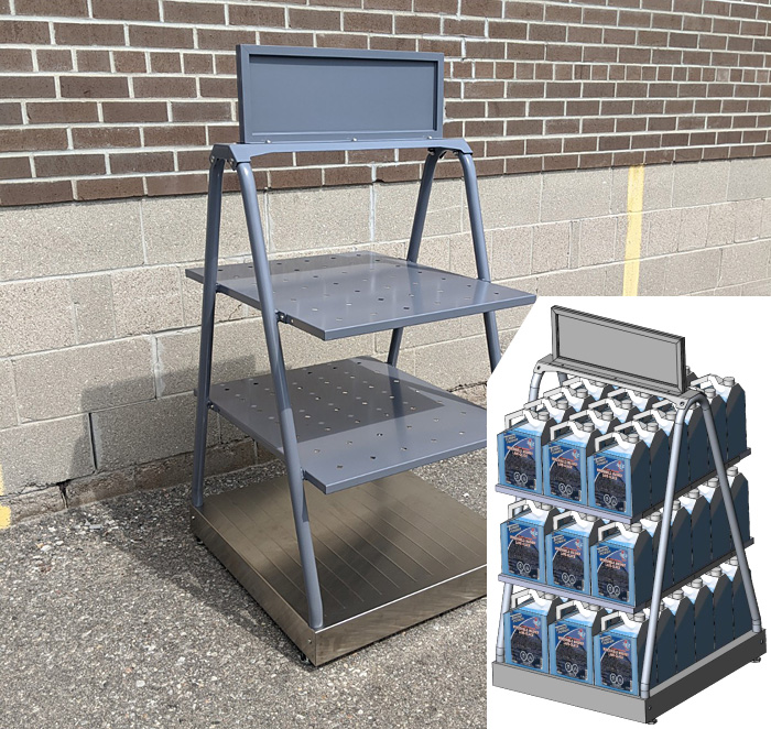 """1. MM-652-SS-PKG – Tiered Skid Display with Stainless Steel Base, Removable Shelves and Sign – 26""""W x 29""""D x 53""""H – 54 Washer Fluid Jug Capacity"""